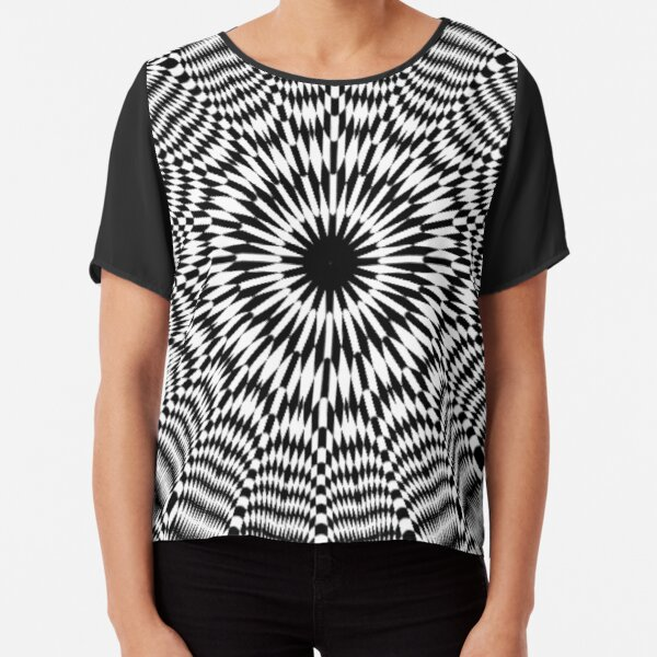 Chess, #Optical #Checker #Illusion #Pattern, design, chess, abstract, grid, square, checkerboard, illusion Chiffon Top