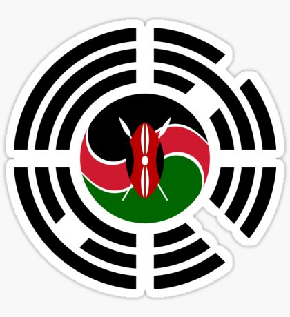 Kenyan Korean Multinational Patriot Flag Series Glossy Sticker