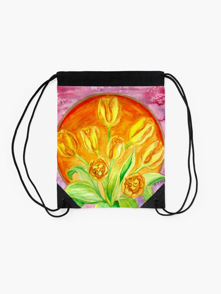 Alternate view of Tulip Flower Bouquet - Watercolor Painting Drawstring Bag