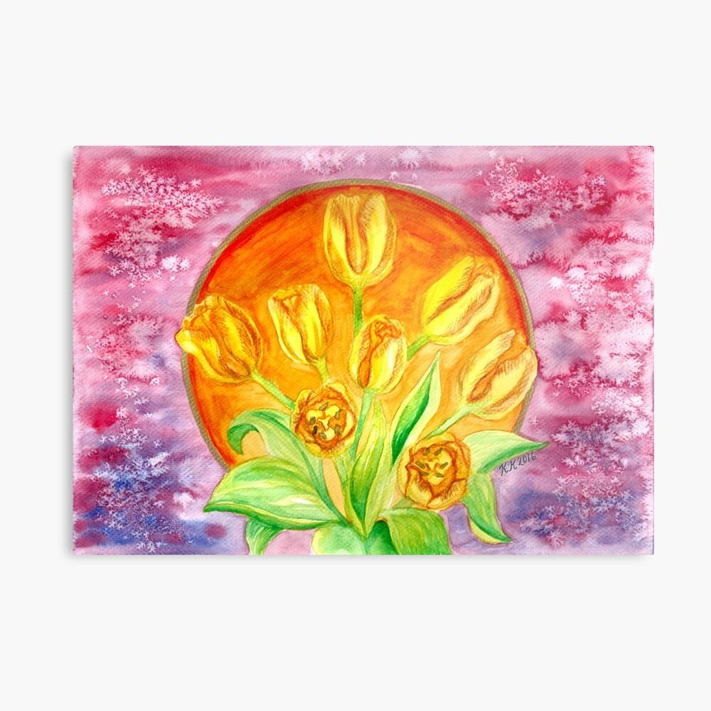 Tulip Flower Bouquet - Watercolor Painting Metal Print