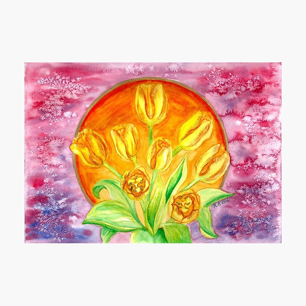 Tulip Flower Bouquet - Watercolor Painting Photographic Print