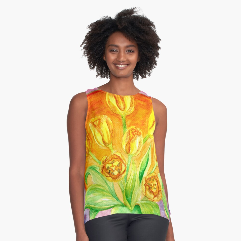 Tulip Flower Bouquet - Watercolor Painting Sleeveless Top
