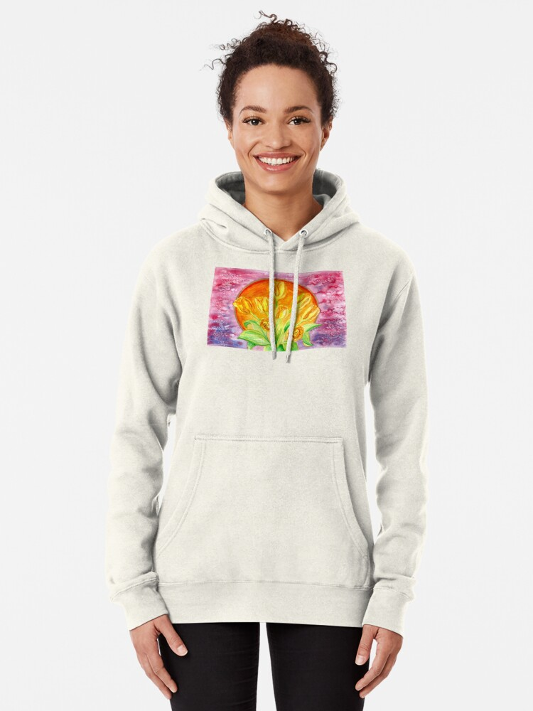 Alternate view of Tulip Flower Bouquet - Watercolor Painting Pullover Hoodie