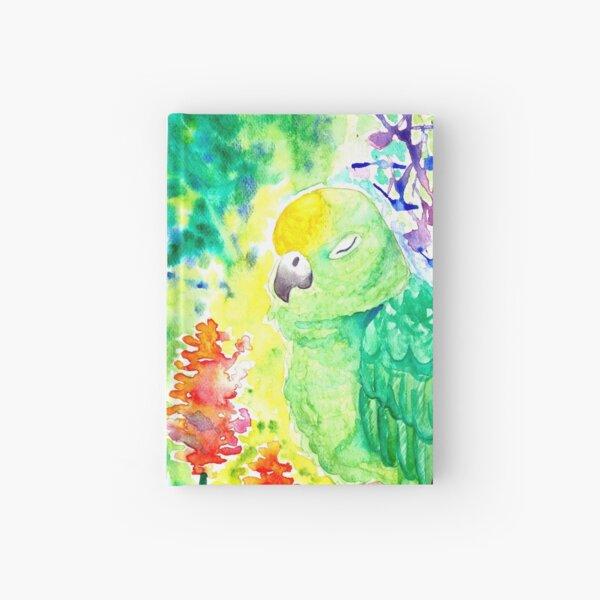 Sleepy Parrot Watercolor Painting Hardcover Journal
