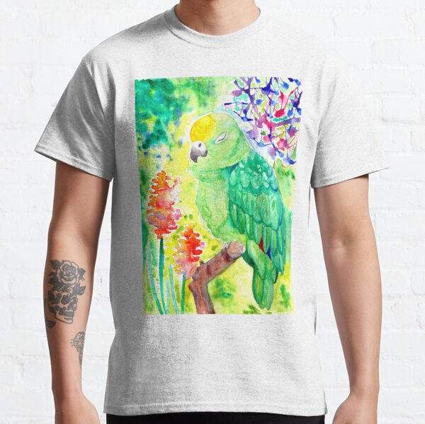 Sleepy Parrot Watercolor Painting Classic T-Shirt
