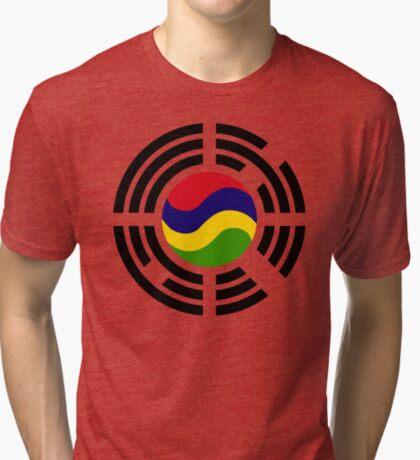 Mauritian Korean Multinational Patriot Flag Series Tri-blend T-Shirt