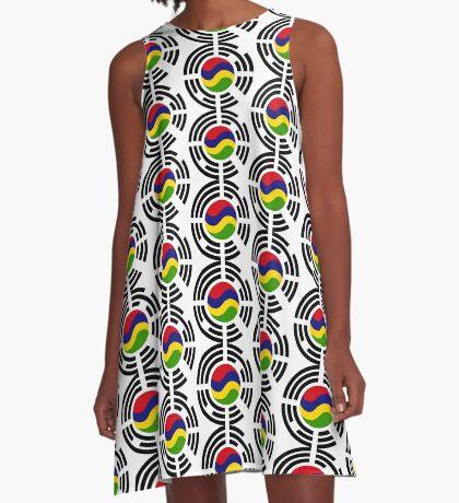 Mauritian Korean Multinational Patriot Flag Series A-Line Dress