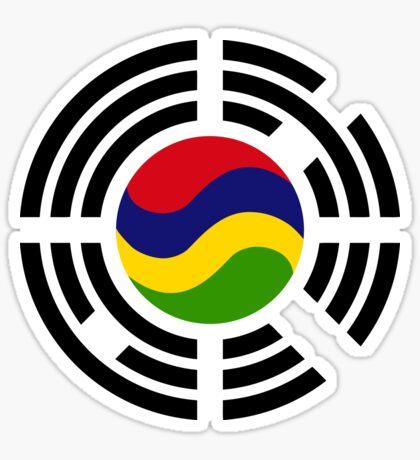 Mauritian Korean Multinational Patriot Flag Series Glossy Sticker