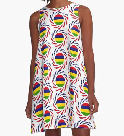 Mauritian American Multinational Patriot Flag Series A-Line Dress