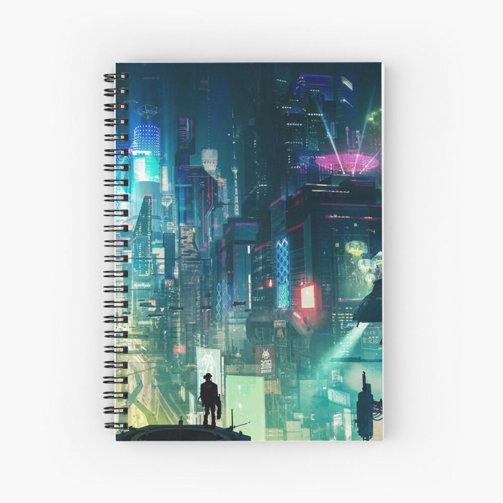 Mega City Nights Futuristic Tokyo Spiral Notebook