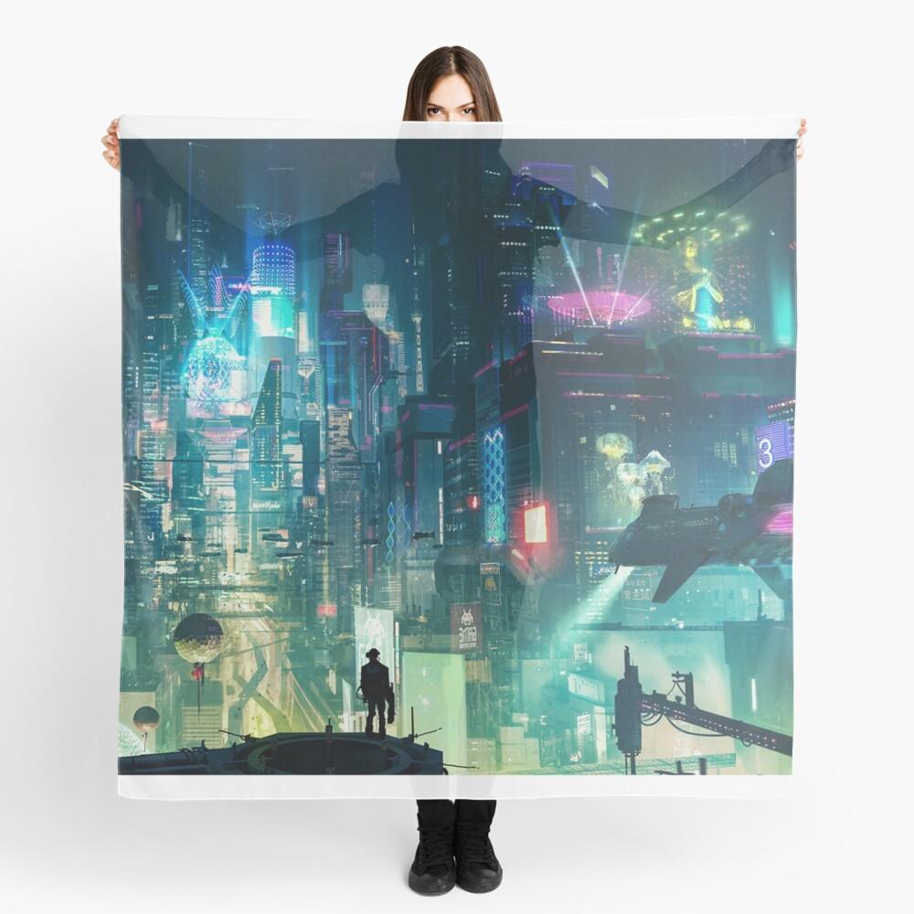Mega City Nights Futuristic Tokyo Scarf