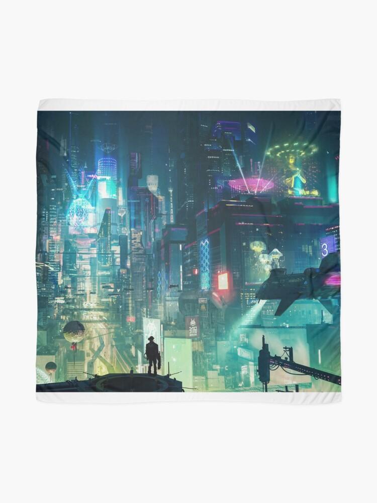 Alternate view of Mega City Nights Futuristic Tokyo Scarf