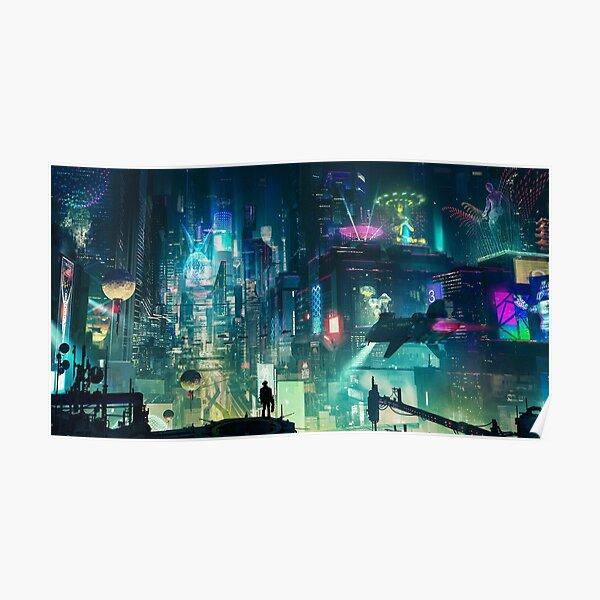 Mega City Nights Tokio futurista Póster