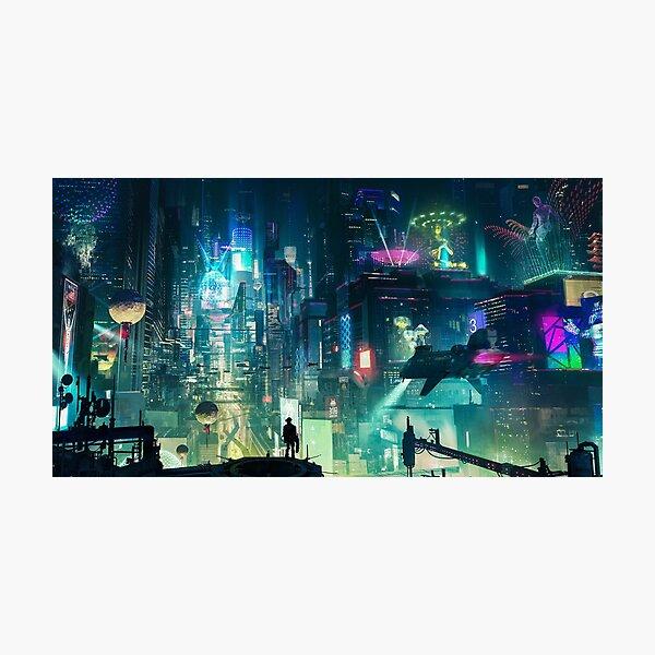 Mega City Nights Tokio futurista Lámina fotográfica