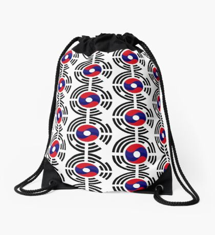 Lao Korean Multinational Patriot Flag Series Drawstring Bag