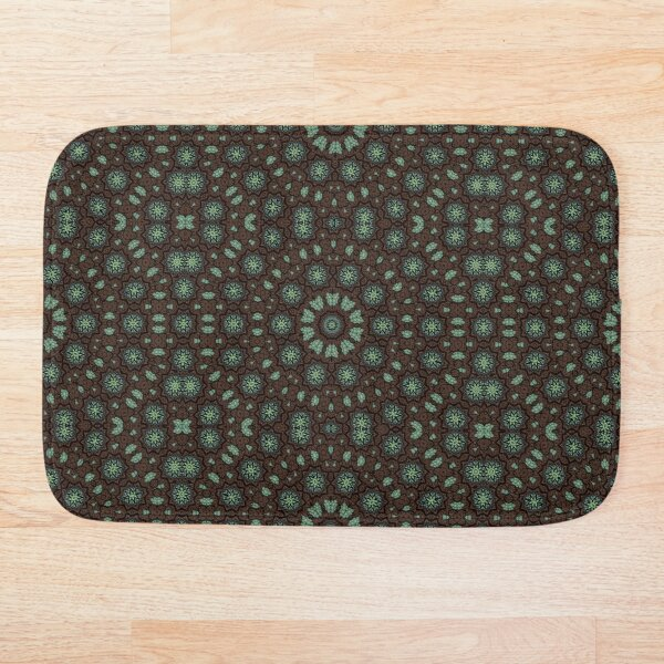Concentric Symmetry in Blue and Green Bath Mat