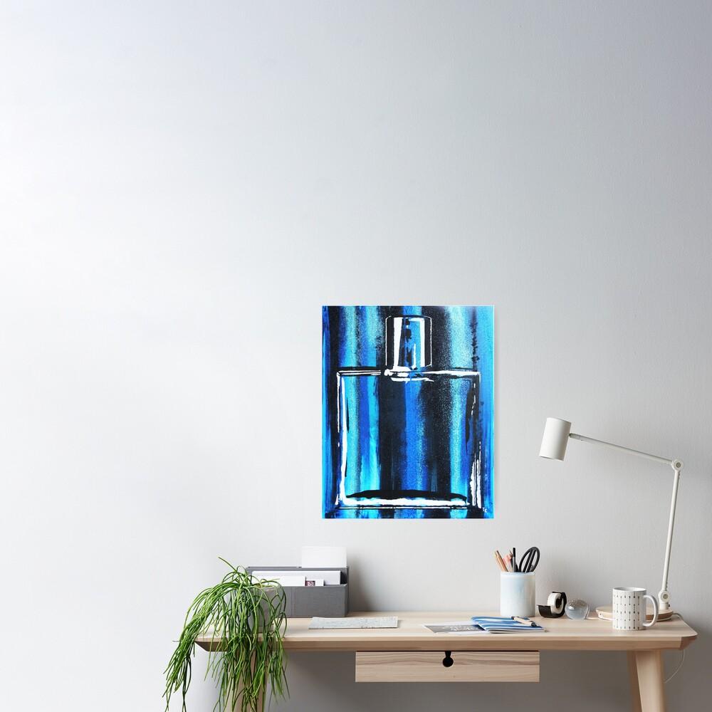 Blue Cologne Bottle Poster