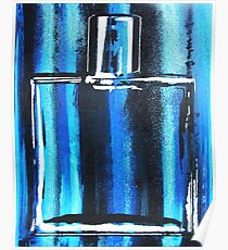 Blue Cologne Bottle Poster