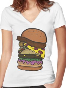 The Ham-chick-za-aco-nut-burger! Women's Fitted V-Neck T-Shirt