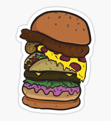 The Ham-chick-za-aco-nut-burger! Sticker