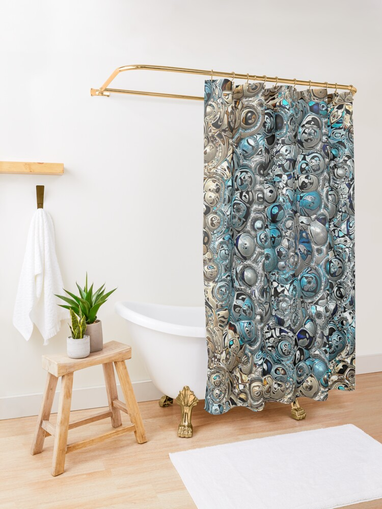 Alternate view of Blue And Beige 3D Abstract Shower Curtain