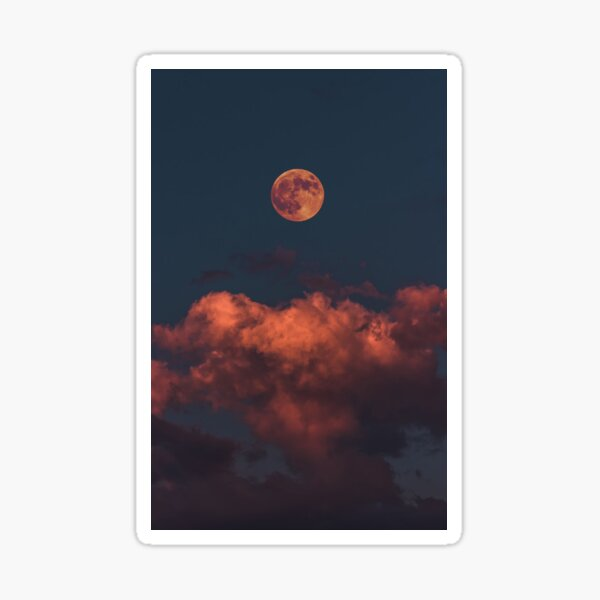 Red Moon Cover Sticker