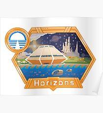Horizons EPCOT Pavilion Pixel Art Mit Sea Base Alpha, Mesa Verde, Brava Centauri und dem Prolog und dem Versprechen von Robert McCall Poster