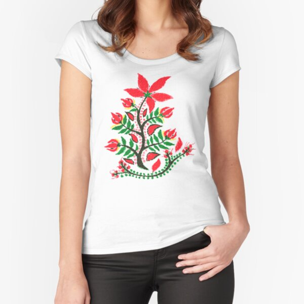 Red Summer Flower  Fitted Scoop T-Shirt