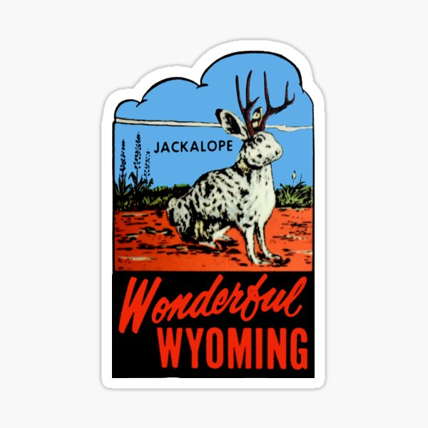 Wyoming Jackalope Vintage Travel Decal Sticker