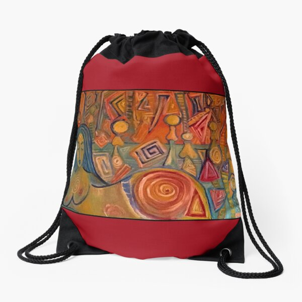 Meditation in Red and Orange Drawstring Bag