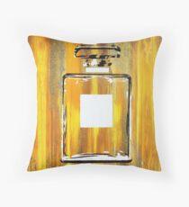 Yellow 5 Perfume Bottle Throw Pillow