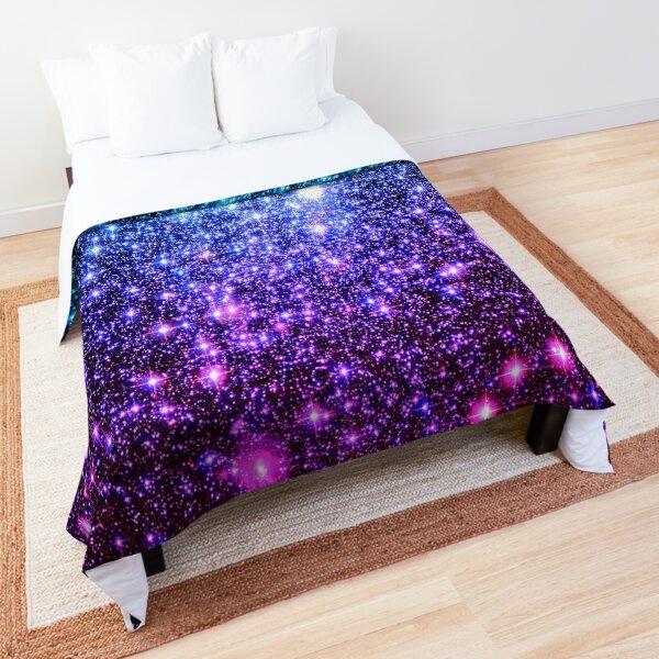 Galaxy Sparkle Stars Turquoise Blue Purple Hot Pink Comforter