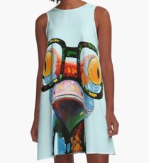Hipster Frog Nerd Glasses A-Line Dress
