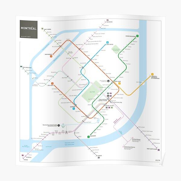 Montreal Metro Map Poster