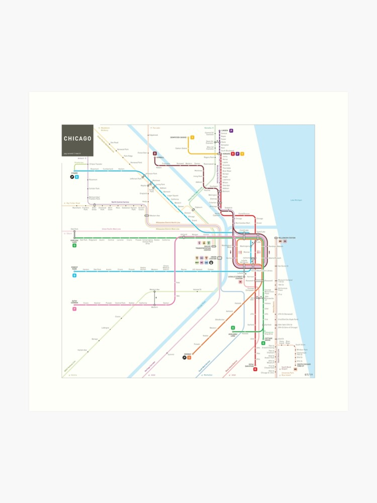 Subway Map Chicao.Chicago Subway Map Art Print