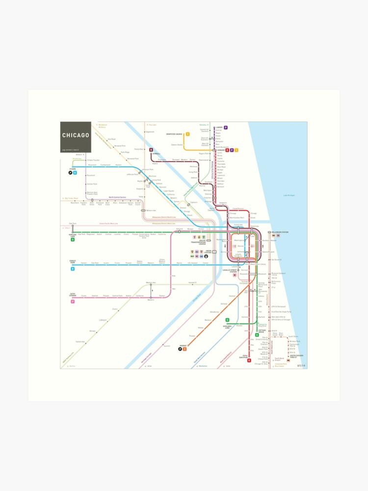 Chicago Subway Subway Map.Chicago Subway Map Art Print