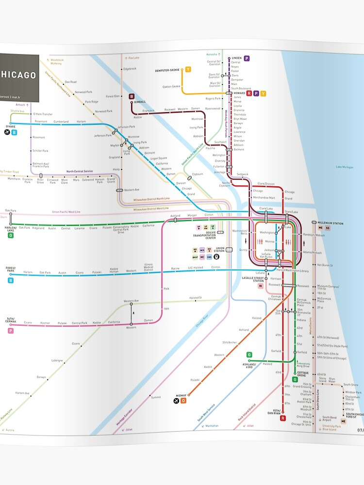 Subway Map Chicao.Chicago Subway Map Poster