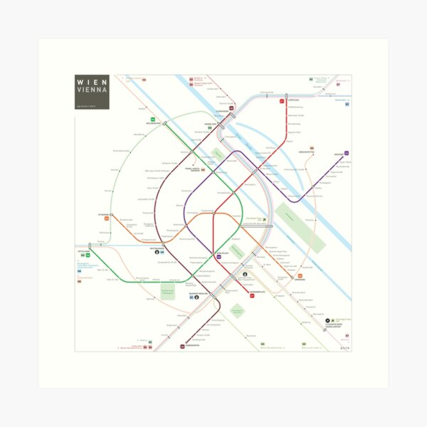 Vienna Metro Map Art Print