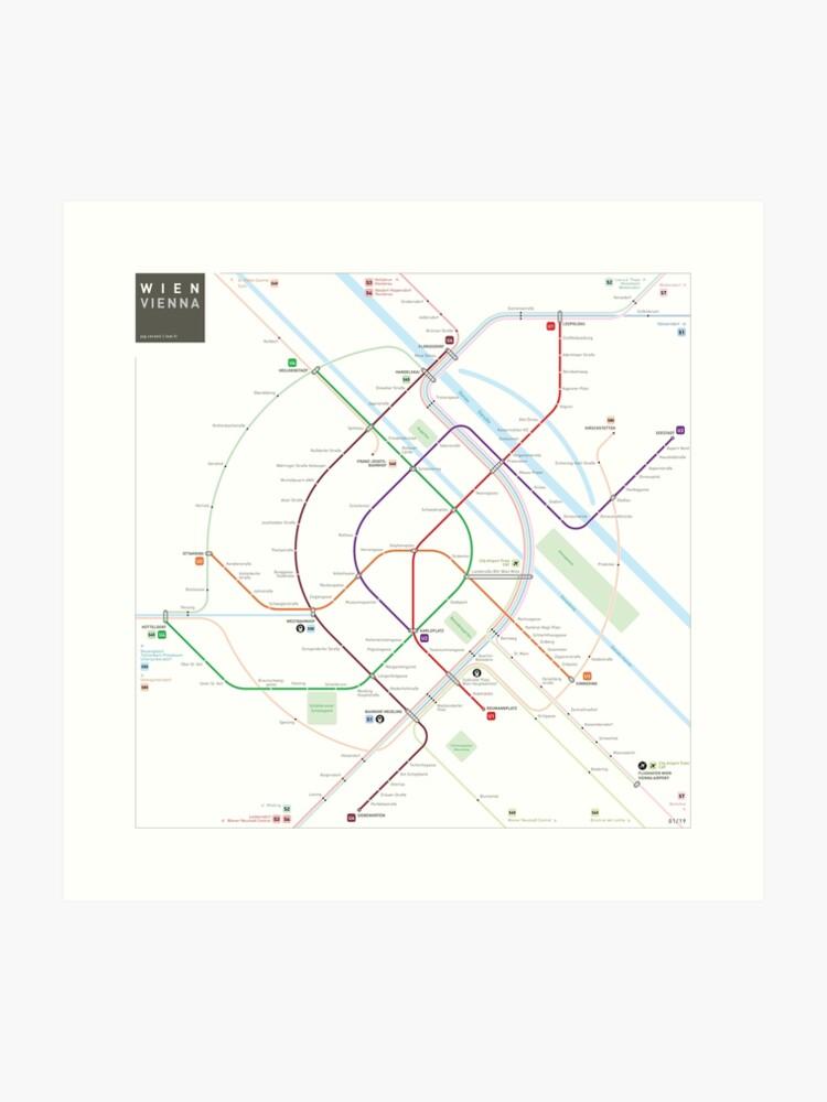 Vienna Subway Map.Vienna Metro Map Art Print