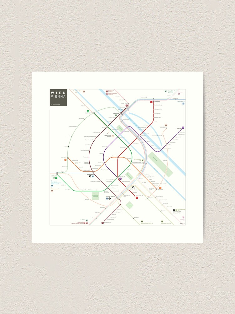 Wien Subway Map.Vienna Metro Map Art Print By Jugcerovic Redbubble