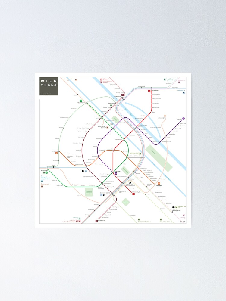 Alternate view of Vienna Metro Map Poster