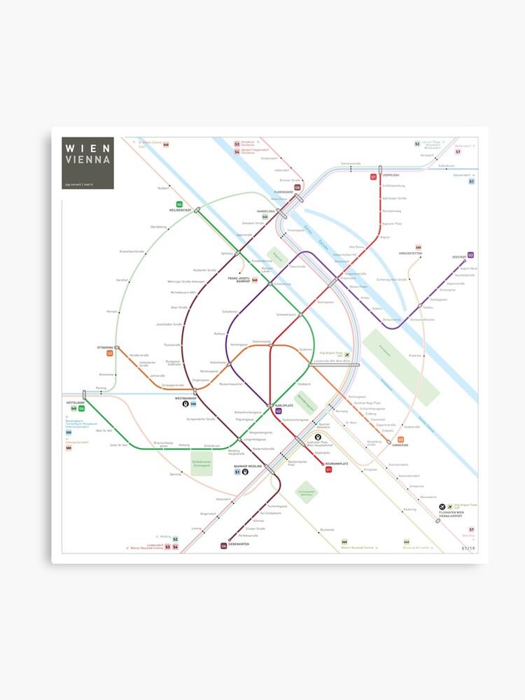 Vienna Subway Map.Vienna Metro Map Metal Print