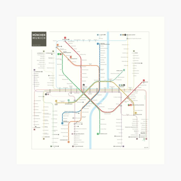 Munich Metro Map Art Print