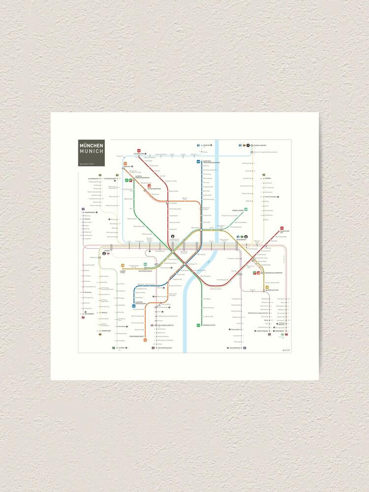 Alternate view of Munich Metro Map Art Print