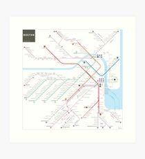 Lámina artística Mapa del metro de metro de Boston
