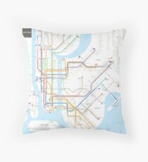 New York City subway map Throw Pillow