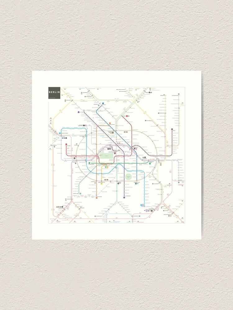 Alternate view of Berlin U-Bahn S-Bahn map Art Print
