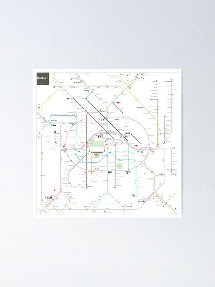 Alternate view of Berlin U-Bahn S-Bahn map Poster
