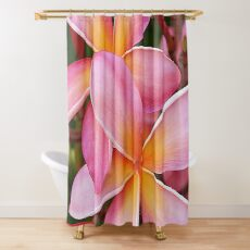 Tropical Hawaiian Plumerias Popping in Pink Shower Curtain