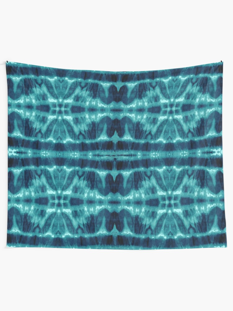 Alternate view of Tie-Dye Teal Twos Tapestry